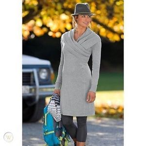 Athleta XS Organic Cotton Sochi Wrap Sweater Dress